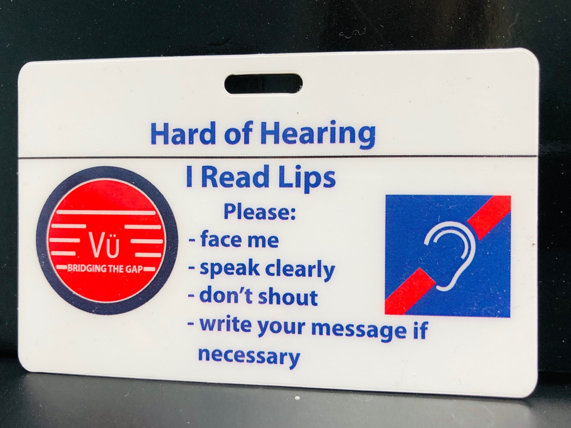 Hard of Hearing communication card